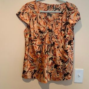Floral multicolor top silk Talbots 18 short sleeve